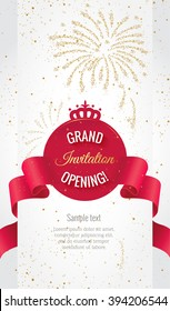 Grand opening vertical banner. Text with  firework and curving ribbon. Gold sparkles.  Elegant style.  Vector Illustration