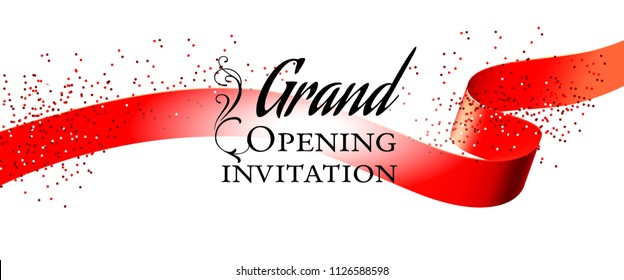 Grand opening white invitation card design with red ribbon and confetti. Festive template can be used for banners, flyers, posters.