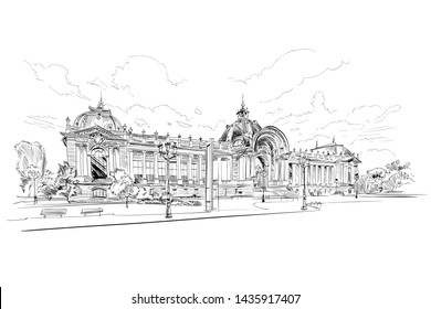 Grand Palace. Paris, France. Urban sketch. Hand drawn vector illustration