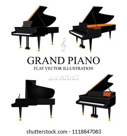 Grand piano. Grand piano flat isometric vector illustrations set. Grand pianos in different view angle. Music key and notes. Classical music concept.