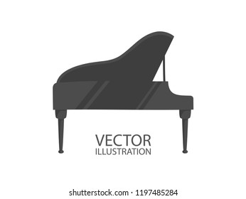 Grand piano icon flat style isolated on a white background with the place for text vector illustrations.
