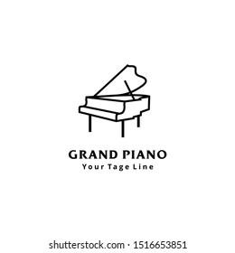 Grand piano logo design template design in line art style