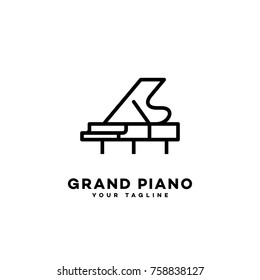 Grand Piano Logo Template Design In Outline Style Vector Illustration