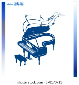 Grand piano with music notes icon