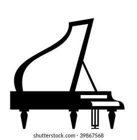 Grand piano silhouette isolated on white background, vector illustration