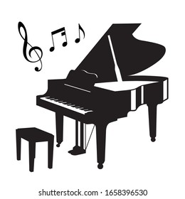 grand piano silhouette on white background