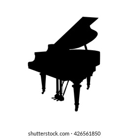 grand piano silhouette on white background