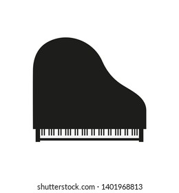 grand piano top view, vector flat illustration, isolation