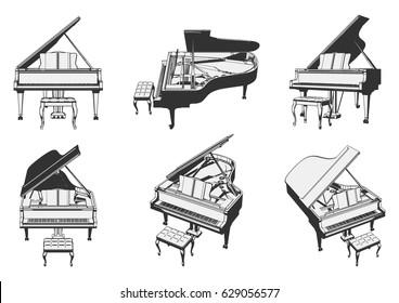 grand piano. vector illustration.
