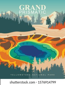 Grand Prismatic Spring on vector colorful poster. Yellowstone national park