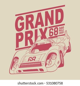 Grand prix racing motorcycle typography, t-shirt graphics, vectors