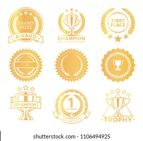 Grand prize trophies collection colorful golden stickers with headlines, banners and laurel leaves, branches stars set, leadership vector illustration
