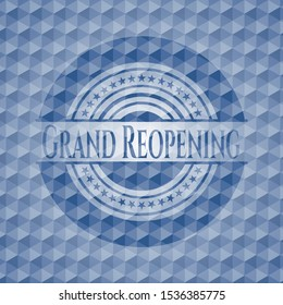 Grand Reopening blue badge with geometric pattern background. Vector Illustration. Detailed.