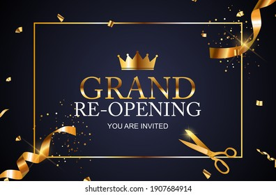 Grand RE-Opening Card Business Poster Background. Vector Illustration