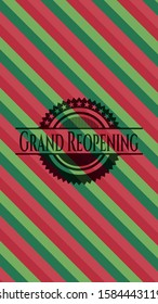 Grand Reopening christmas style emblem. Vector Illustration. Detailed.
