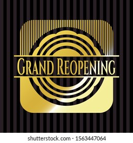 Grand Reopening gold shiny badge. Vector Illustration. Detailed.