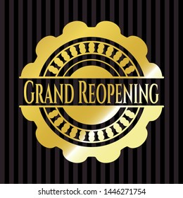 Grand Reopening golden badge or emblem. Vector Illustration. Detailed.