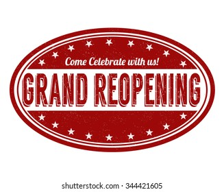 Grand reopening  grunge rubber stamp on white background, vector illustration