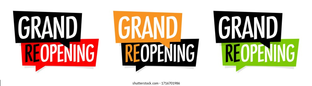 Grand reopening on speech bubble