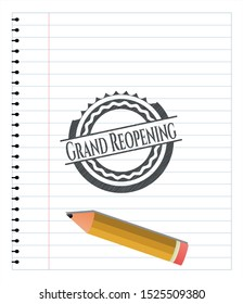 Grand Reopening pencil emblem. Vector Illustration. Detailed.