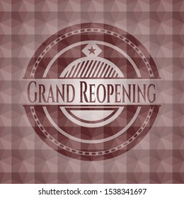 Grand Reopening red seamless badge with geometric pattern background.