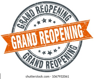 grand reopening round grunge ribbon stamp
