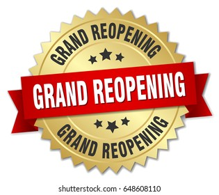 grand reopening round isolated gold badge
