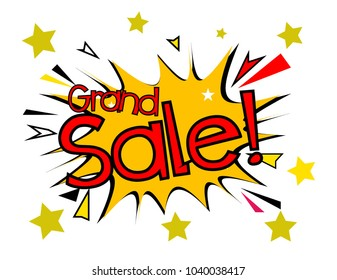 grand sale, sign with comic cloud or bubble