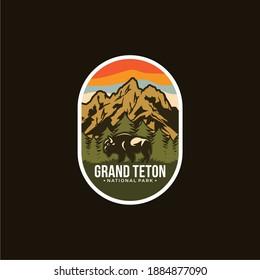 Grand Teton National Park Emblem patch logo illustration on dark background