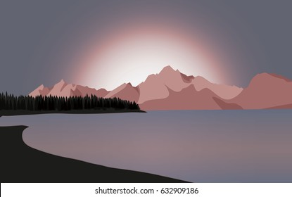 Grand Tetons vector illustration colorful background with mountain range and lake with sunset and trees