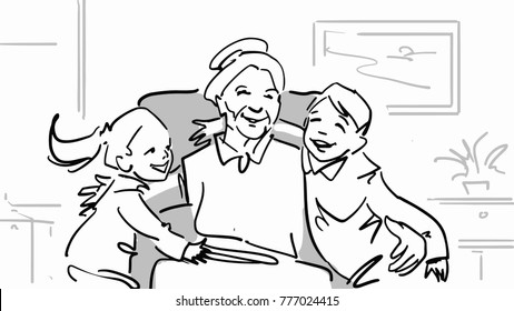 Grandchildren and granny. A boy and a girl are hugging a grandmother sitting in an armchair. Happy family at home. Black and white vector sketch.