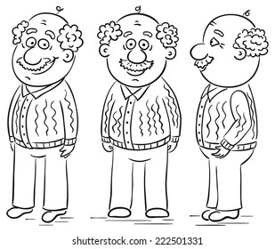 Grandfather cartoon character at different angles