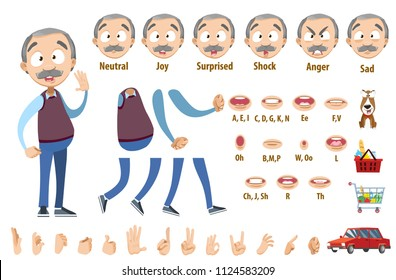 Grandfather character constructor for animation and custom illustrations. Character creation set with face emotions, lip sync and poses.  Parts of body template for design work and animation.