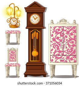 Grandfather clock and vintage furniture  isolated on a white background. Vector illustration.