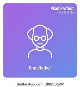 Grandfather in eyeglasses. Elderly people. Thin line icon. Pixel perfect, editable stroke. Vector illustration.