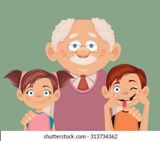 Grandfather and grandchildren. Vector flat illustration