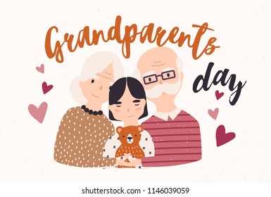 Grandfather and grandmother cuddling with grandchild. Embracing granddad, grandma and granddaughter. Loving family. Colored vector illustration in flat cartoon style for Grandparents Day postcard