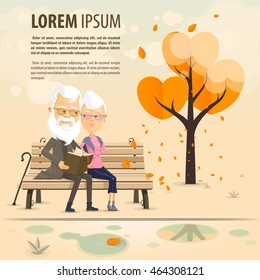 Grandfather and grandmother read a book on a bench in autumn park, Happy Grandparents day, Vector illustration in flat, cartoon style isolated from the background