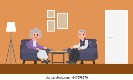 grandfather and grandmother sitting on a sofa in living room. senior couple sitting on a couch in living room. Vector illustration.