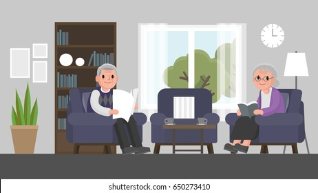 grandfather and grandmother are sitting on a sofa in living room. Senior couple sit on a couch in house. Vector illustration.