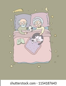 Grandfather and grandmother sleep in  bed. Characters of the Old People. Lovely pensioners. Good night Sweet Dreams concept.. Bed vector illustration.