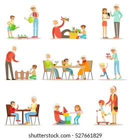 Grandfather And Grandmother Spending Time Playing With Grandkids, Small Boys And Girls With Their Grandparents Vector Collection