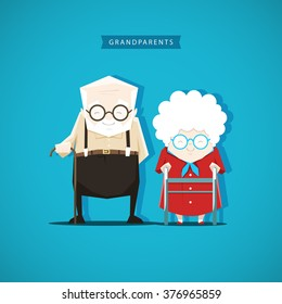 Grandfather and grandmother are standing with sticks next to each other - stock vector illustration