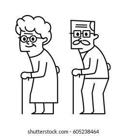 Grandfather and grandmother. vector illustration