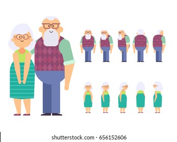 Grandfather and Grandmother Vector Set for animation. Front, side, back view characters. Cartoon style, flat vector illustration isolated on white.