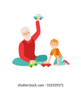 Grandfather And Grandson Playing Toy Cars. Part Of Grandparent And Grandchild Passing Time Together Set Of Illustrations