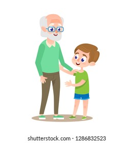 Grandfather with Grandson Smiling Together. Adult Grand Parent Senior with Teen Boy. Human Generation Concept Illustration. Grandpa Holding Mature Grandchild Kid by Hand at Walk. Happy People.