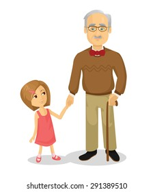 Grandfather and grandson. Vector flat cartoon illustration