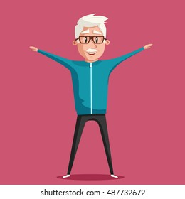 Grandfather and gymnastics. Old man. Grandparent doing exercises. Sport. Morning exercises. Cartoon vector illustration