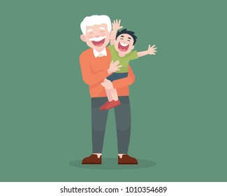 grandfather with his grandchild laugh and happy together